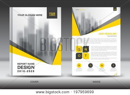 Yellow Cover Annual report brochure flyer template creative design cover design and inside page layout infographics vector