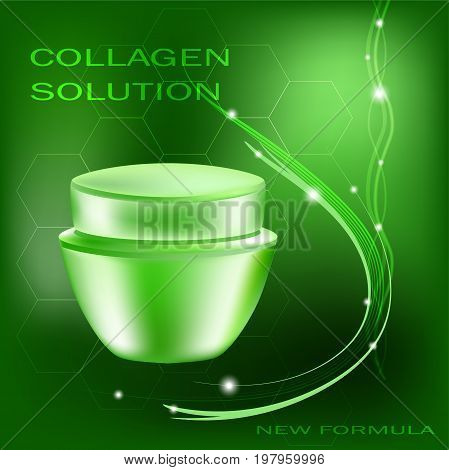 Vector cream jar with glares and light on the green background, collagen solution, illustration for cosmetology