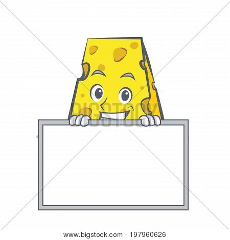 Grinning cheese character cartoon style with board vector illustration