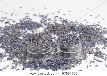 Dried Flowers Of Lavender. Two Jars Filled With Dried Lavender Inflorescences. They Stand Side By Si