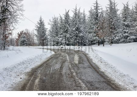Road Care, Just Spread Mixture Of Salt And Sand