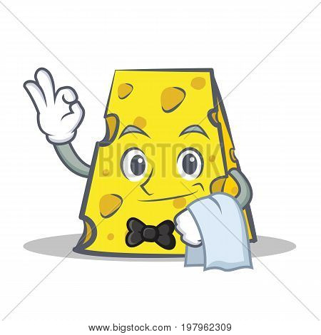Waiter cheese character cartoon style vector illustration