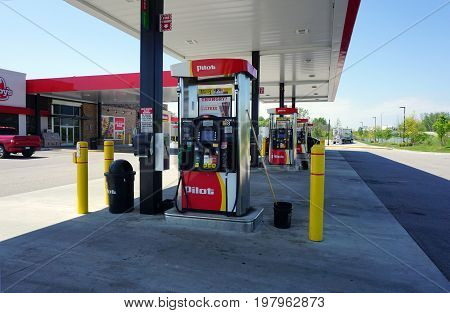 HOLLAND, MICHIGAN / UNITED STATES - MAY 22, 2017: One may purchase gasoline from self-service pumps at the Pilot Travel Center.