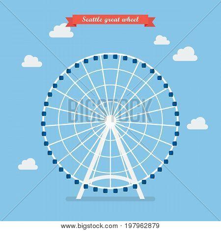 Seattle great wheel. vector illustration Flat style design