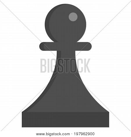 Black Chess pawn icon, vector illustration flat style design isolated on white. Colorful graphics