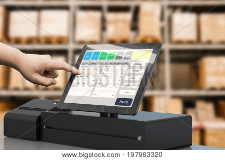 human hand working with cashier machine in warehouse