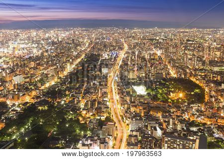OSAKA JAPAN - June 12 2017: Osaka cityscape view 300 meters above ground Japan. Osaka is the second largest metropolitan area in Japan. View from Abeno Harukas the highest skyscraper in Japan.