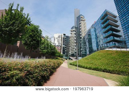 June 14th, 2017 - Milan, Lombardy, Italy. Solaria tower is the example of futuristic ultramodern architecture in Porta Nuova. Modern skyscraper on Garibaldi downtown district near Piazza Gae Aulenti.