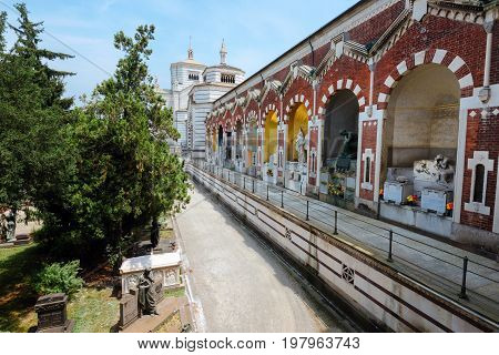 June 14th, 2017 - Milan, Lombardy, Italy. Monumental Cemetery, also known as Cimitero Monumentale di Milano - one of the largest cemeteries and main landmarks in the city.
