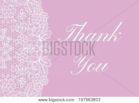 Thank you card with white lace border on pink background