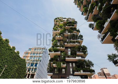 June 14th, 2017 - Milan, Lombardy, Italy. Bosco Verticale residential houses in Milan downtown. Vertical Forest or Veritcal Gardens apartments, example of modern ecological buildings in Porto Nuova.