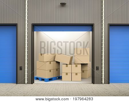3d rendering heap of stockpile in warehouse