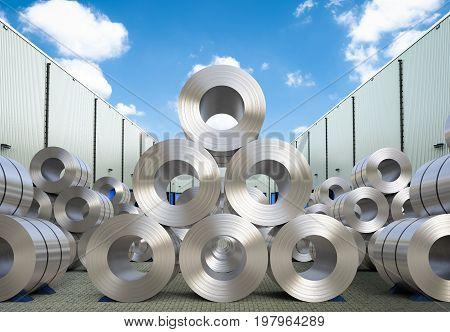 3d rendering rolls of steel sheet in warehouse