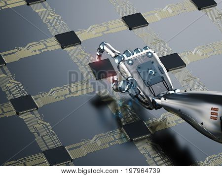 Cyborg Hand Working With Cpu