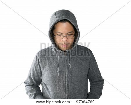 asian man is wearing grey sweater with hood isolated on white