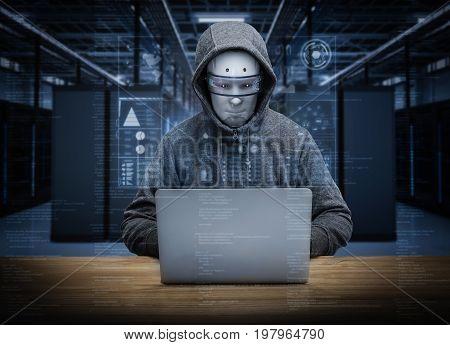 3d rendering humanoid robot hacker in server room
