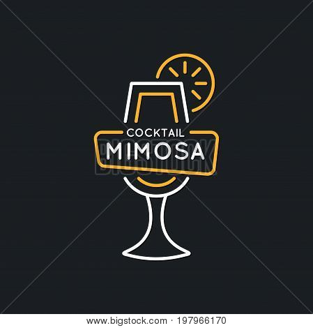 Illustration for bar menu alcoholic cocktail Mimosa. Vector line drawing of a Drink on a dark background.