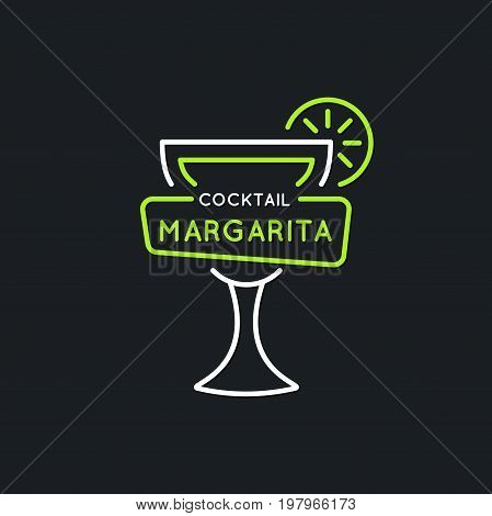 Illustration for bar menu alcoholic cocktail Margarita. Vector line drawing of a Drink on a dark background.