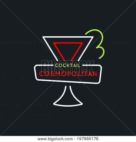 Illustration for bar menu alcoholic cocktail Cosmopolitan. Vector line drawing of a Drink on a dark background.