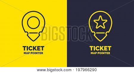 Ticket pointer icon on background. Vector illustration. The linear image of a plane ticket pointer.