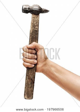Man's hand holds a hammer isolated on white background. Close up. High resolution product