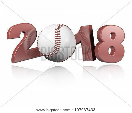 3D illustration of Baseball 2018 Design with a white Background