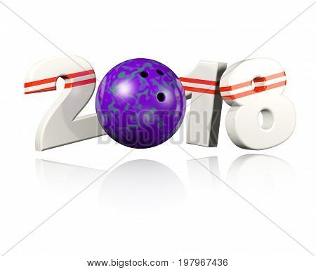 3D illustration of Bowling 2018 Design with a white Background