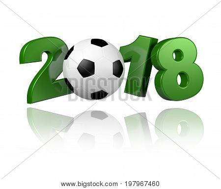 3D illustration of Football 2018 design with a white background