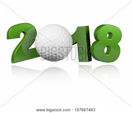 3D illustration of Golf 2018 Design with a white Background