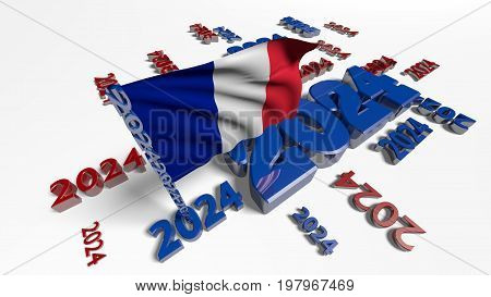 3D illustration of France 2024 Designs with flag in the wind and white background