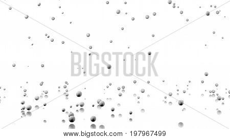 3D illustration of Many Golf balls raining with a reflecting floor and a white background