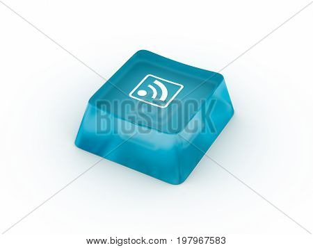 wifi symbol on transparent keyboard button. 3D rendering