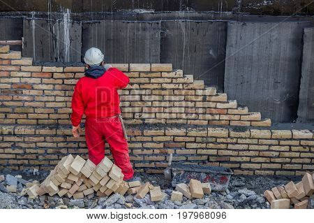 Mason Bricklaying Outdoors