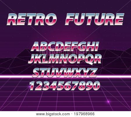 Retro Futuristic Vector Background. Chrome Alphabet In 80S Retro Futurism Style.