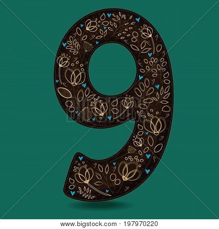 Number Nine with Romantic Golden Floral Decor. Dark brown numeral. Yellow flowers and plants with drown effect. Blue small hearts.