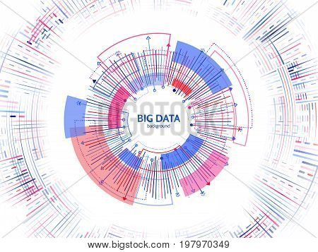 Complex data graphic visualization. Futuristic business analytics. Big data analys visualization with lines dots and arrow elements. Futuristic infographic vector illustration.