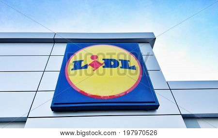 PRAGUE CZECH REPUBLIC - JULY 31 2017: LIDL logo advertising sign at a supermarket. LIDL is a German discount chain founded in 1973 by German merchant Dieter Schwarz.