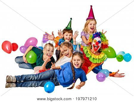Birthday child clown playing with children and bunny fingers prank. Kid holiday cakes celebratory and balloons the happiest birthday. Morning in the kindergarten.