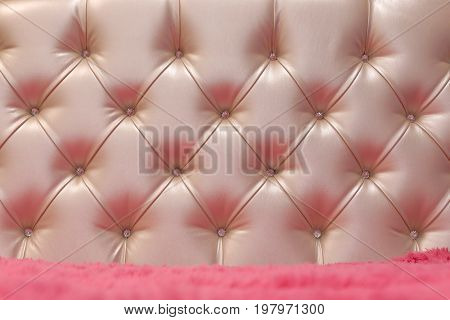 Classic upholstery pink of the headboard sofa chair wall