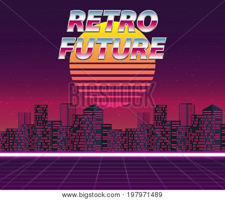 Retro Futuristic Vector Background
