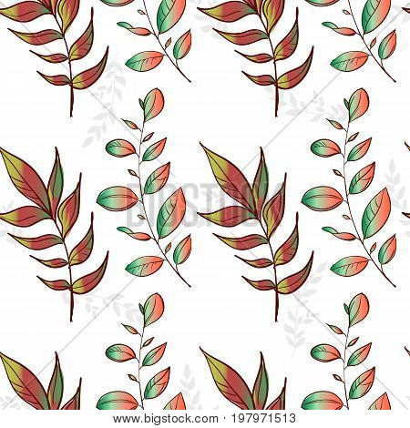 beautiful seamless texture background imprint. autumn pattern. beautiful imprint watercolor pattern of leaves. handmade painted.