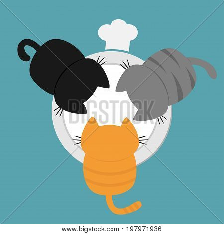 Three kittens drinking eating milk from bowl plate. Chef hat. Funny kawaii baby kitty animal family. Cat feeding concept. Cute cartoon pet character set Flat design Blue background Vector illustration