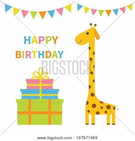 Happy Birthday greeting card. Giraffe with spot. Long neck. Cute cartoon character. Colorful paper flags. Giftbox pyramid set Baby card. White background. Isolated. Flat design Vector illustration