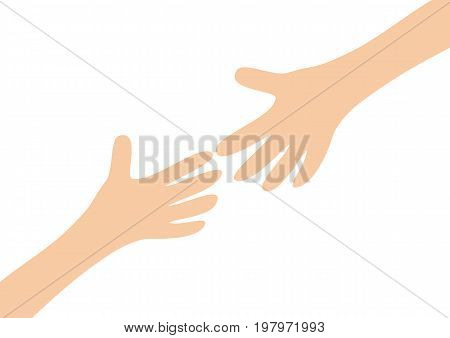 Two arms hands reaching to each other. Child and mother. Close up body part. Helping hand. Happy Valentines day. Flat design. Love soul gift concept Isolated. White background. Vector illustration