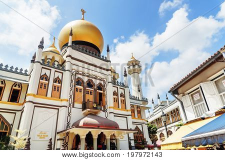 Main View Of Masjid Sultan (sultan Mosque) At Singapore