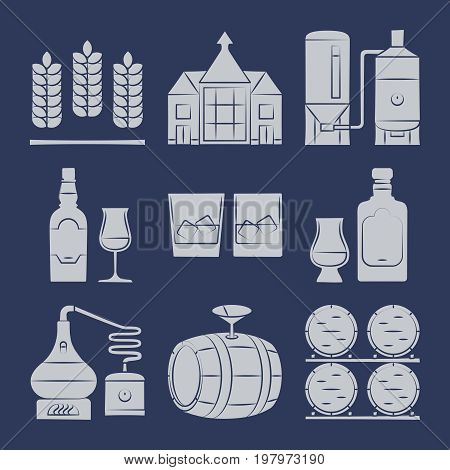 Whisky silhouette icons collection on blue. Whisky drink production icon, vector illustration