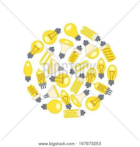 Yellow light bulbs icons in circle on white background. Vector illustration