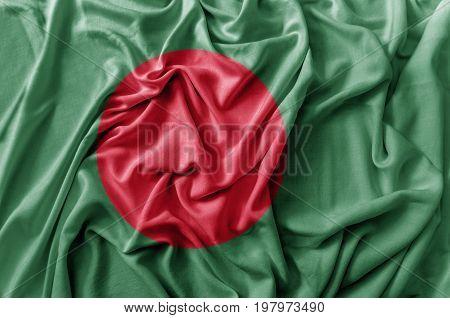 Ruffled waving Bangladesh flag national close up