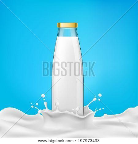 Vector illustration glass bottles with milk or dairy product, kefir, drinking yoghurt, milkshake stands in a milk splash. Print, template, design element