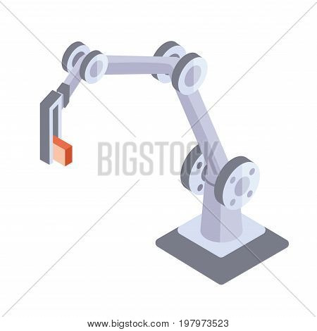 Robotic metal hand. Industrial robot manipulator. Vector illustration in isometric projection, isolated on white background.